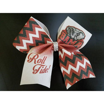 "University of Alabama Inspired ""Roll Tide!"" Glitter Cheer, Dance, Softball, Hockey, Gymnastics Bow"