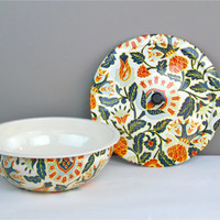 Vintage Nevco Bowl Vintage Bowl with Lid South Africa Tin Bowl Floral Tin