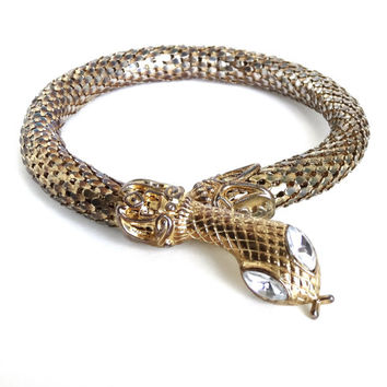 Vintage SNAKE Bracelet Upper Arm Cuff Gold Mesh Coil w Clear Rhinestone Eyes CLEOPATRA Egyptian Revival Etruscan Whiting Davis