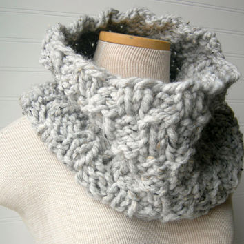 Cozy Cowl Scarf in Grey Tweed by WindyCityKnits on Etsy