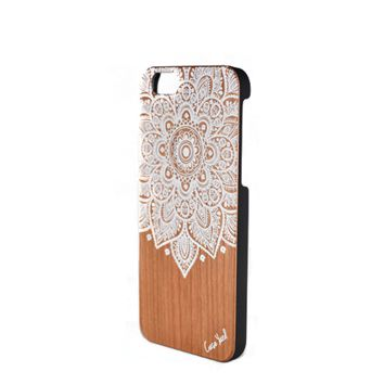Painted Wood Phone Case - White Mandala- iPhone 5/5s/SE, 6, 7