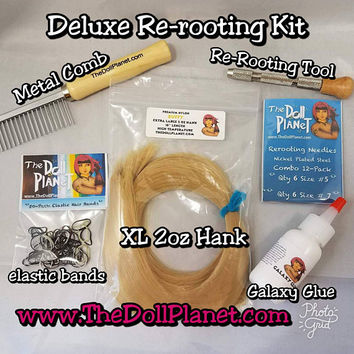 Doll Deluxe Re-rooting Starter Kit Natural Shades Nylon Doll Hair with Reroot Tool Comb Needles Glue for MLP Barbie Monster High Blythe
