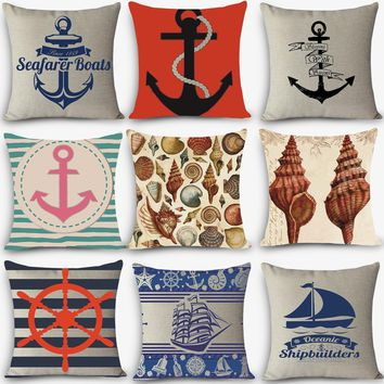 Home decorative pillows Europe square cotton linen nautical seat cushion Sea style sailing Anchor coussin vintage fundas cojines
