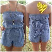 Denim Bowback romper