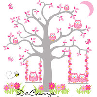 PINK GREY OWL Tree Mural Wall Decals Baby Girl Woodland Theme Nursery Decor Kids Room Childrens Bedroom Playroom Moon Bee Swing Art Stickers