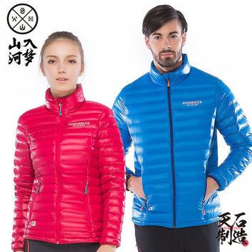 HIGHROCK Winter Outdoor 700FP Goose Down Jackets DWR Water-Resistant Thin Lightweight Camping Hiking Skiing Down Coat Men Women