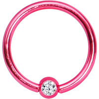 """16 Gauge 3/8"""" Clear Crystal Pink Titanium BCR Captive Ring 