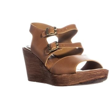 Bella Vita Ani-Italy Double Buckle Peep Toe Wedge Sandals, Whiskey Leather, 9 WW US