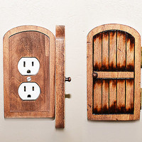 Handmade Wooden Rustic Fairy Door Switchplate/Outlet Cover - Unique Novelty Home Decor, Secret Door, Distressed Home Accents