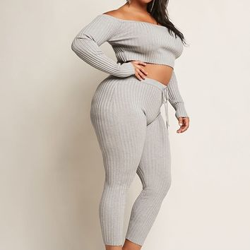 Plus Size Ribbed Crop Top & Pants Set