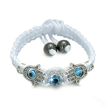 Evil Eye Protection Amulet Hamsa Hand White Cord Bracelet Simulated-Hematite Beads