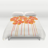 Hibiscus Stripe: Orange Tangerine Duvet Cover by Eileen Paulino