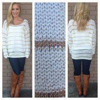 Ivory Gold Jackie Stripe Knit Sweater
