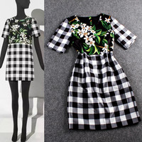 Black Checkered  Floral Digital Print  Shift Dress