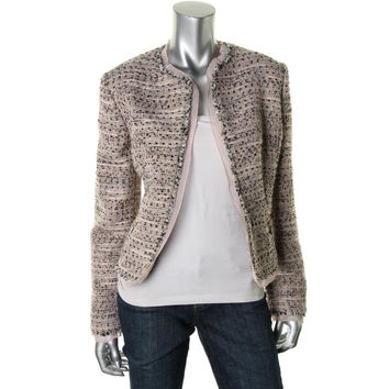 Anne Klein Womens Boucle Ruffled Open-Front Blazer