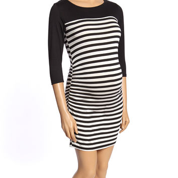 Mom & Co. Black & White Stripe Solid-Yoke Maternity Dress - Women | zulily