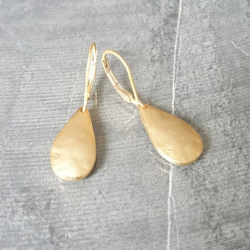 Tear Drop Earrings, Gold Tear Drop Earrings, Gold Drop Earrings, Drop Earrings, Tear Drop