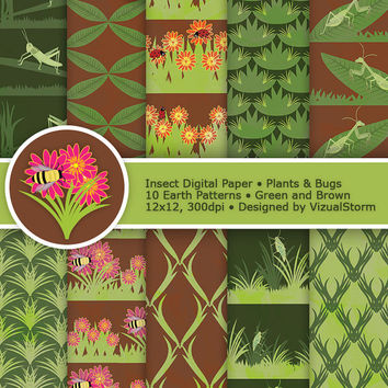 Insect Digital Paper, printable bugs, plants and flowers, rustic earth tones, lady bug, mantis, honey bee, green and brown, Buy 2 Get 1 Free