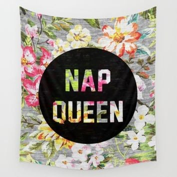 Nap Queen Wall Tapestry by Text Guy