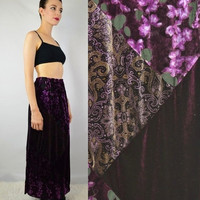 90s Velvet  Patchwork Skirt Hippie Soft Grunge Boho Gypsy Witch Earth Size Medium Womens Vintage Clothing Floral Scroll Flowy Maxi Long