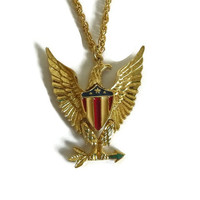 American Eagle Necklace Pendant, Stars and Stripes Gold Patriotic Eagle, Red White & Blue, Independence Day, 4th of July Vintage Jewelry