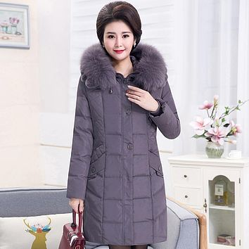 Winter Coat Women 2017 NEW Mother Clothing Detachable Fox Fur Collar Thickening Loose Plus Size 5XL White Duck Down Jacket DXH05