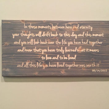 WEDDING VOWS, carved wood, custom quote sign, carved wood wall art, poetry art, rustic, carved, quote decal, poetry poster