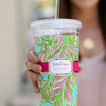 Lilly Pulitzer Reusable Cold Drink Tumbler - In the Bungalows