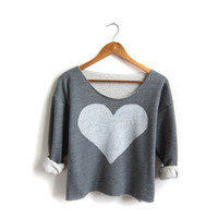 Two Sided Heart - REVERSIBLE Hand Stenciled Deep Scoop Neck Cropped Sweatshirt in Red White and Heather Grey - Free Size
