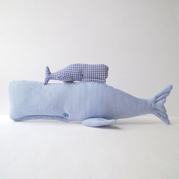 Stuffed  Whales, Plush blue whales toys. Nautical softie, textile cuties. Child friendly toys. Blue white cloth, great gift for baby shower