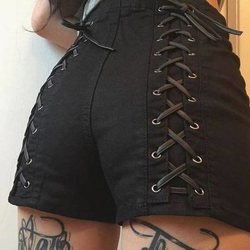 Black Lace up back shorts