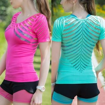 Women Workout Fitness Tops Sports T Shirt Yoga Gym Vest Training Exercise Running Clothing Sportswear Tee Tank Singlets Clothes