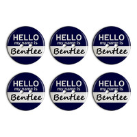 Bentlee Hello My Name Is Plastic Resin Button Set of 6