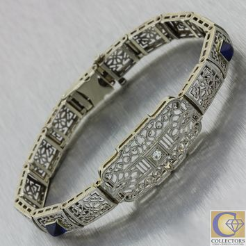1930s Antique Art Deco Filigree Solid 14k White Gold Diamond Sapphire Bracelet