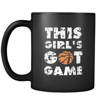 Basketball This girl's got game 11oz Black Mug