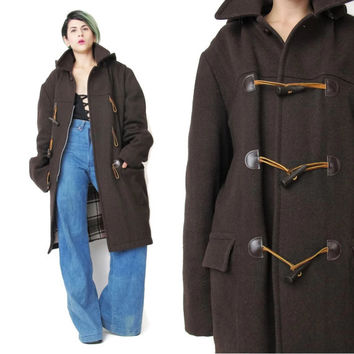1960s Toggle Coat Brown Wool Winter Coat Vintage Hooded Duffle Coat Plaid Lining Preppy Mens Unisex Mod Coat Zip Up Outerwear Pockets (L/XL)