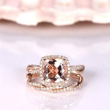 Morganite ring set morganite engagement ring diamond wedding band 7mm cushion cut pink gemstone twisted diamond ring solid 14k rose gold