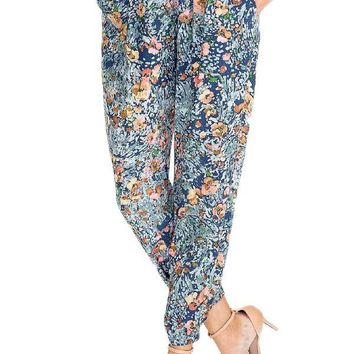 Olivaceous Floral Printed Jogger Pants