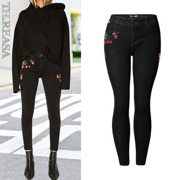 Denim Embroidery Pants Stylish Slim Pencil Pants [11474124239]