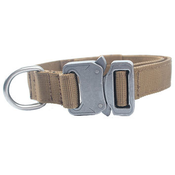 Military Tactical Dog Collar with Metal Buckle for Law Enforcement K9 Training Hunting German Shepherd Pet Supplies