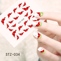1pcs Fashion Red Bow Ties Water Transfer Stickers Nail Art Decoration French Tips Beauty Full Wraps Decals Nail Supplies STZ034
