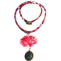 Long Beaded Necklace on a Red Patterned Greek Fabric Cord, Pink Flower Pendant and Olive Green Gem Dangle, Boho Gift, Textile Women Jewelry