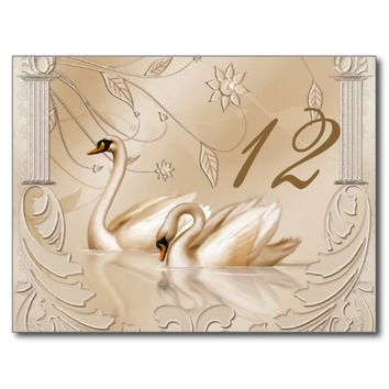Elegant Golden Swans Table Card