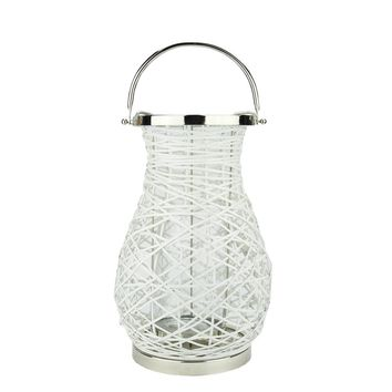 "16.25"" Modern White Decorative Woven Iron Pillar Candle Lantern with Glass Hurricane"