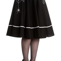 Miss Muffet Spider Black Cotton Halloween Skirt by Hell Bunny