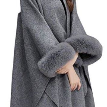 Fulok Womens Casual Long Sleeve Cape Wool Faux Fur Collar Peacoat
