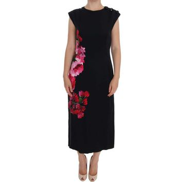 Dolce & Gabbana Black Silk Stretch Floral Sheath Dress