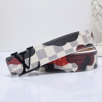 "LV  Red Heart Print ""Louis Vuitton"" Fashion Print Smooth Buckle Monogram Leather Print Belt White"