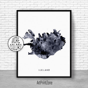 Iceland Print, Watercolor Map, Iceland Map Art, Map Painting, Map Artwork, Country Art, Office Decorations, Country Map Art Print Zone