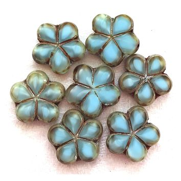 Lot of five 17mm table cut, carved,opaque, marbled light denim blue Czech glass flower beads with a metallic silver finish C36105